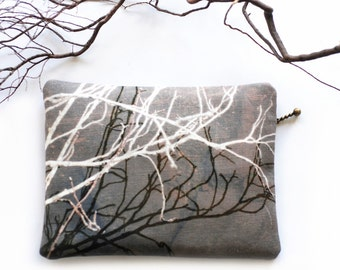 Clutch purse, zipper bag, for her, pouch, black and white branches, reflection, TWIGS