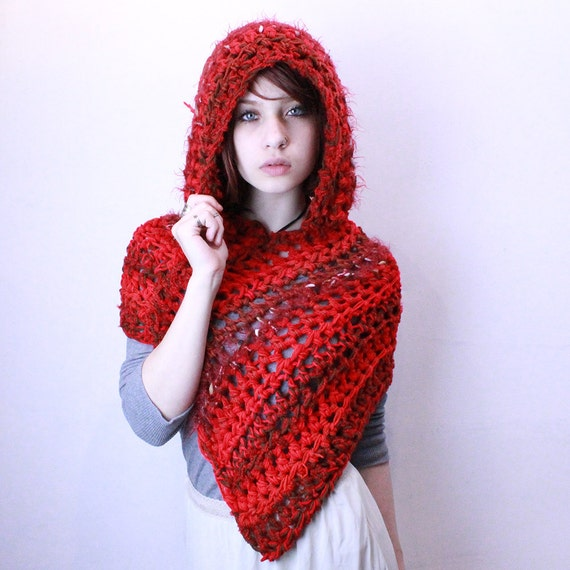 Red Ridding hood scarf vegan poncho shawl poppy red brown