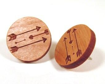 Wooden Arrow Post Earring Studs