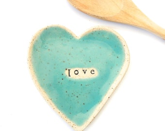 Made to order - LOVE-  Ceramic Heart  - Dish - Spoon Rest - Soap dish - Jewelry Holder- Turquoise- Wedding favor- Shower favor- any quantity