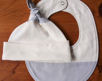 Organic Baby Hat and Bib Gift Set in ASH; Soft Dove Grey and Ivory Newborn Baby Cap and Drool Bib Gift Set by Organic Quilt Company