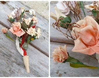 Vintage Antique 1900/1930 Wedding paper crepon flower bouquet / Bridal bouquet