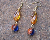 Eco-Friendly Dangle Earrings - New Day - Recycled Vintage Glass Beads in Amber and Cobalt Blue