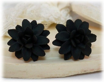 Black Dahlia Earrings Stud or Clip On - Dahlia Jewelry Collection