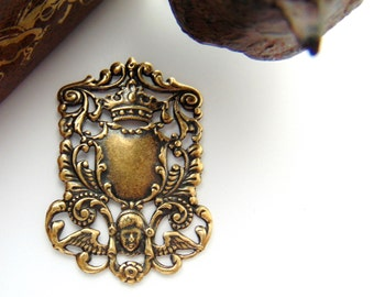 ANTIQUE BRASS * Crest Ornate Heraldry Shield / Angel - Crown Stamping ~ Jewelry Findings ~ Brass Stamping (FA-6072)