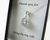 Bridal Necklace, Bridesmaid Gift,Wedding Jewelry Diamond Look,Bridesmaids Jewelry,Sterling Silver,Bridal Jewelry, Crystal Necklace, Weddings