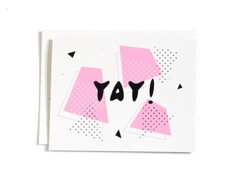 Retro Celebrate Card / Yay Card / Happy Occasion / Screen Print / Blank Card / Graduation Card / Promotion Card / Retro Design