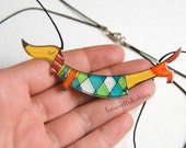 Dachshund dog necklace, Animal jewelry, dog colorful jewelry, gift for her