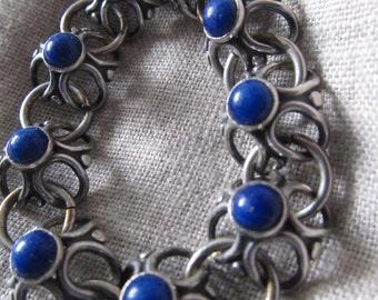 Vintage Napier Sivertone Chain Bracelet, Flowerlike Settings