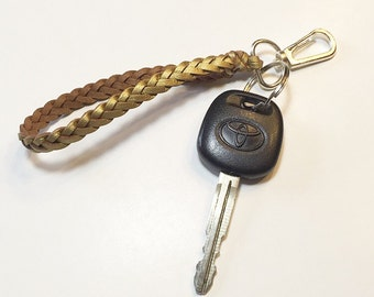 Leather braided key chain-choose your color