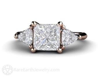 Moissanite Engagement Ring Forever Brilliant Moissanite Ring Square 3 Stone Three Stone Gold or Platinum
