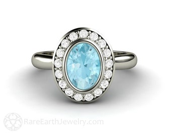 Aquamarine Ring Aquamarine Engagement Ring Oval Bezel Aqua Diamond Halo Blue Gemstone Ring March Birthstone in 14K or 18K Gold or Platinum