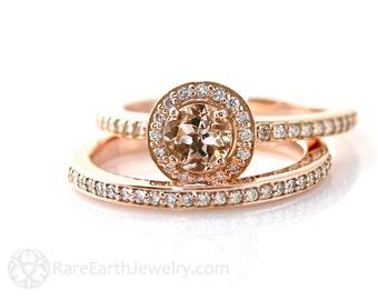 Morganite Engagement Ring Bridal Set Wedding Ring Diamond Halo Morganite Ring 14K or 18K Rose Gold Wedding Ring