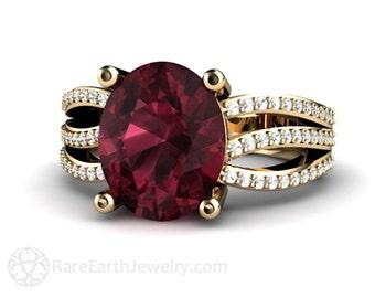 14K Red Garnet Ring with Diamonds Rhodolite Garnet Ring Right Hand Ring Cocktail Ring January Birthstone Ring