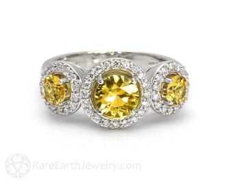 Yellow Sapphire Ring Sapphire Engagement Ring 3 Stone Unique Engagement 14K or 18K Gold Yellow Gemstone Ring