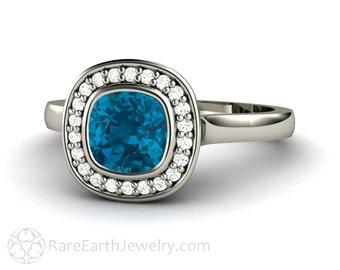 Cushion London Blue Topaz Ring London Blue Halo Topaz Engagement Ring Bezel Halo 14K or 18K Gold December Birthstone Blue Gemstone Ring