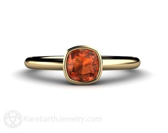 Orange Sapphire Ring Cushion Bezel Solitaire in 14K or 18K Gold Gemstone Ring