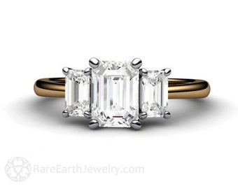 18K Platinum Three Stone Engagement Ring White Sapphire Engagement Ring 3 Stone with Emerald Cut White Sapphires