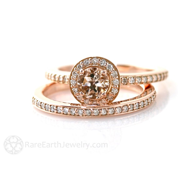 Morganite Engagement Ring Bridal Set Wedding Ring Diamond Halo Morganite Ring 14K or 18K Rose Gold Wedding Ring