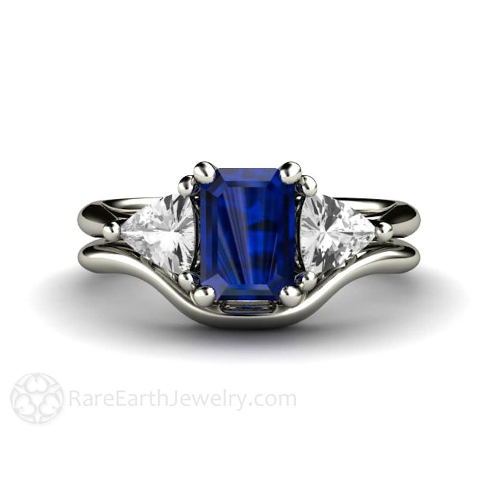 blue sapphire engagement ring wedding band vintage blue With blue sapphire wedding ring