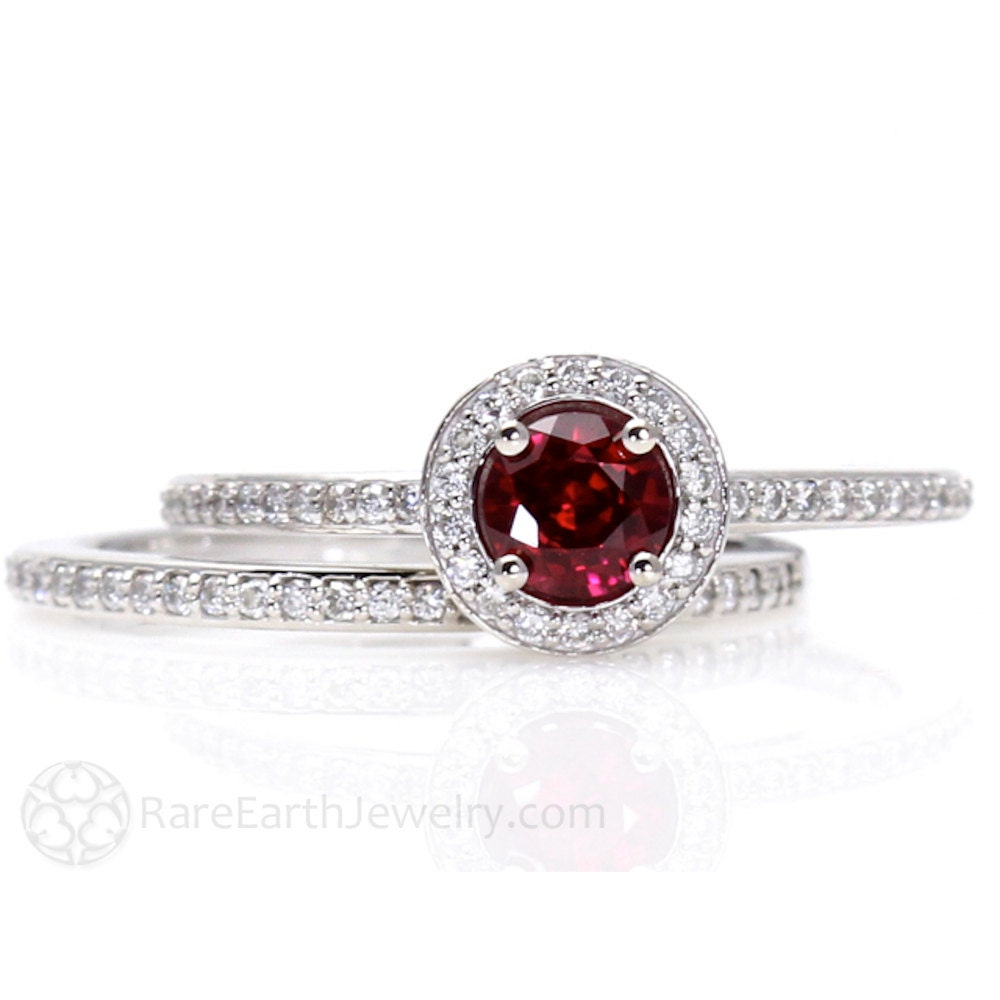 ruby engagement ring and wedding band ruby ring halo