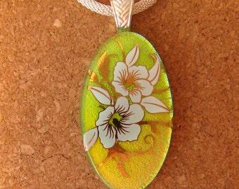 Dichroic Glass Pendant - Fused Glass Pendant - Decal Pendant - Flower Pendant - Dichroic Jewelry
