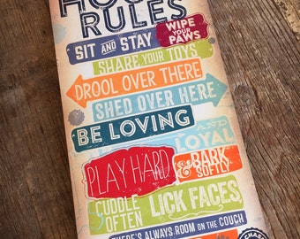 Dog House Rules typography dog art illustration graphic art on 7/8 inch wooden wall plaque by stephen fowler