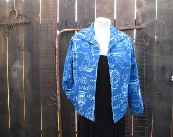 Vintage Nautical Jacket Blue 60s Sailor collar Blue jacket 60s Middy Chalk print jacket Sailor ships Anchor print jacket M L