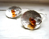 Amber Earrings, Metalwork Earrings, Baltic Amber, Hammered Silver Dome, Dangle Earrings, Stone Earrings, Baltic Amber Earrings