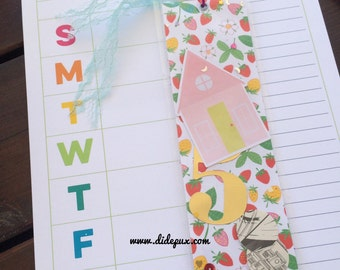 Pink house Bookmark for your book, planner, magazine