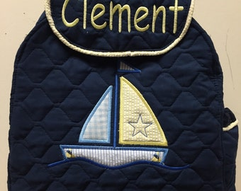 TODDLER Boys SAILBOAT Backpack. CUSTOM Handmade and Embroidered or Applique'd with your choice of Design and Trim