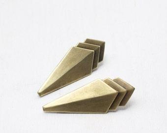 Art deco hair clips brass geometric 1930's style barrette pair antiqued bronze vintage retro