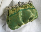 Handmade Emerald Green and Gold Indian Brocade Clutch Bag with Ornate Snake Clasp