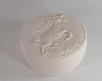 Round Unicorn Box Ready to Paint Ceramic Bisque