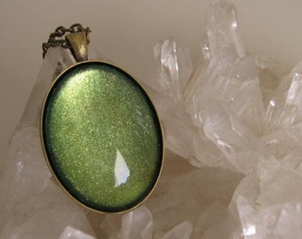 Oval Shimmer Pendant - FREE Pendant Included - Olive Green