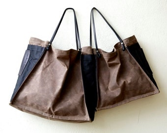 new color - summer sale - FARMERS MARKET TOTE - waxed canvas and leather with wine bottle pocket - ships today