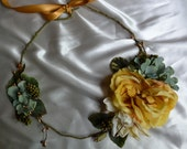 Yellow Statement Necklace, Rustic Bridal Necklace, Woodland Bridal Accessory, Yellow Flower Necklace, Boho Bridal Jewelry, Bridal Accessory