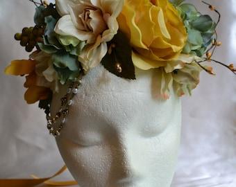 Wedding Flower Crown, Bridal Headband, Boho Flower Crown, Renaissance Headdress,Yellow Rose Crown, Teal Bridal Crown, Woodland Wedding Crown