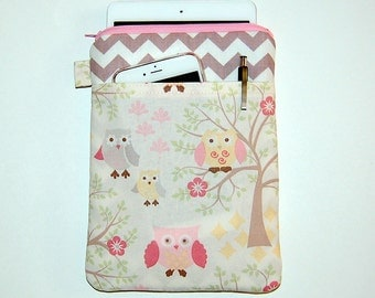 Owls on Trees and Gray Chevron  - iPad Mini / Kindle / Nook / Nexus 7 Padded Cover with Front Pocket