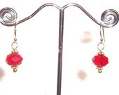 Valentine Sale - Red Crystal Gold Filled Earrings