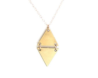 Split Triangle Diamond Necklace - Gold or Silver