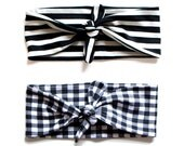 SMALL Sizing // Tie Up Headscarf Black & White Gingham // Tie Up Headscarf Black and Stone Stripe
