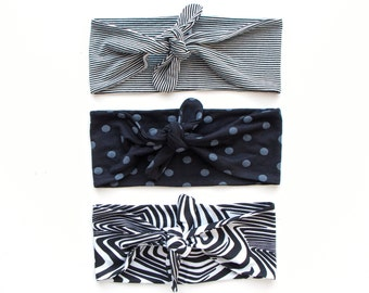 Tie Up Headscarf // Fashion Headband // Stretch Hair Wrap // Black and White Pinstripe // Black with Grey Polka Dot // Zebra Print