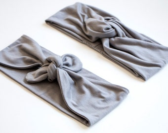 Medium Grey Tie Up Headscarf // Medium Grey Turban Headband