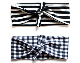 Tie Up Headscarf Black & White Gingham // Tie Up Headscarf Black and Stone Stripe