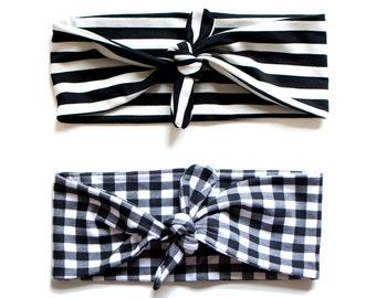 Tie Up Headscarf Black & White Gingham // Tie Up Headscarf Black and Stone Stripe