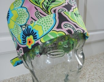 Tie Back Surgical Scrub Hat with Lark Floral Couture