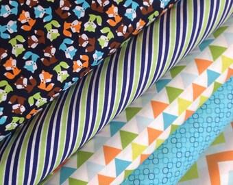 Fox fabric bundle, Fabric by the Yard, Woodland Animals fabric, Boy Fabric by Ann Kelle, Robert Kaufman, Fabric bundle of 5, Choose the cut