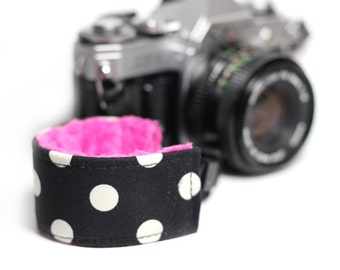 Polka Dot Wrist strap for DSLR Cameras - Thats it Dot with hot pink Minky