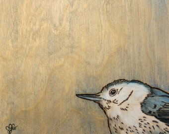 Original Bird Art - Nuthatch Woodburned Oil Painting on Wood Panel